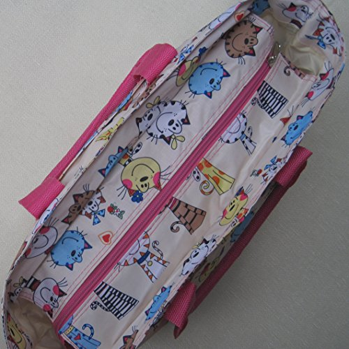 cleanable Knitting Light Bag wipe Floral and Cats Beach handbag Happy Silver Very strong Bag Bq81qT