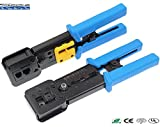 RJ45 Professional Heavy Duty Crimp Tool Ethernet Connector Crimper Cutter HD Crimping Wire Cable Stripper Stripping Blades for EZ End Pass Through RJ-45 RJ12 RJ11 Legacy Connectors
