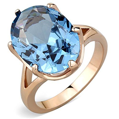 Eternal Sparkles IP Rose Gold London Blue Oval Ring