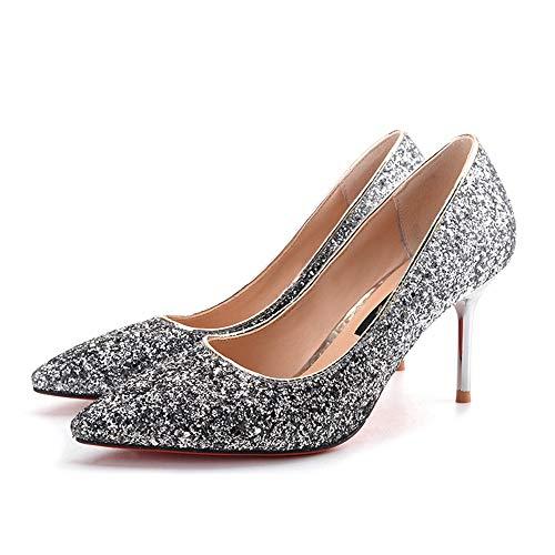 Tacchi alti donna da scarpe singole Shallow Pointed New Scarpe Jqdyl Mouth Paillettes qzgwOE8