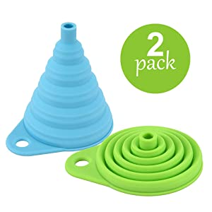 Collapsible Silicone Funnel Set, 2 Pack Large and Wide Fold Funnels for Kitchen Oil Food and Water Bottling(Blue+Green)