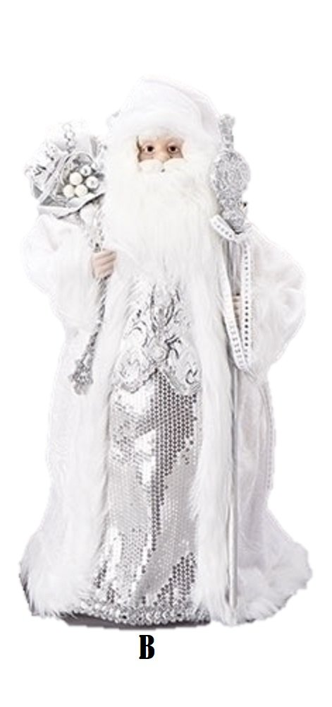 Roman Inc. 18'' Silver Santa With A Staff and Bag of Gifts - Tree Topper 131442B