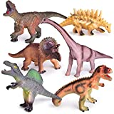 "6 PCs Educational Dinosaur Toys with Realistic Sounds, 9"" to 12"" Large Soft Rubber Toy Dinosaurs for Kids, Toy Dinosaurs Set for Boys"