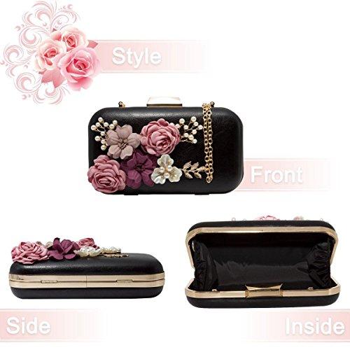 monedero de clutch flor de de Cartera perlas de Bolsa sobre de Bolso Negro SODIAL noche mujer de cuero AFqxnO517
