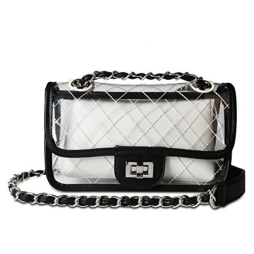 Olyphy Designer Shoulder Bag for Women Transparent Clear Handbag PVC Waterproof Crossbody Bag Set (Designer Black Handbag)