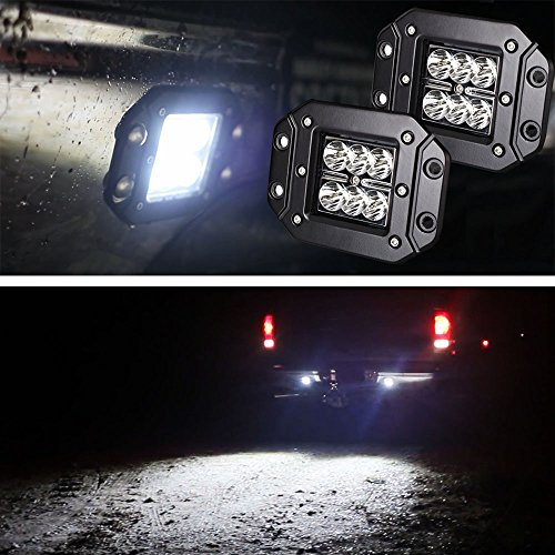 iJDMTOY (2) Dually Flush Mount 24W CREE LED Pod Lights For Truck Jeep Off-Road ATV 4WD 4x4, etc (Diagonal Wide Power Surface)