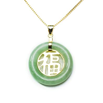 Amazon gold plated sterling silver green chinese jade circle gold plated sterling silver green chinese jade circle pendant necklace with center quotgood luckquot mozeypictures Gallery