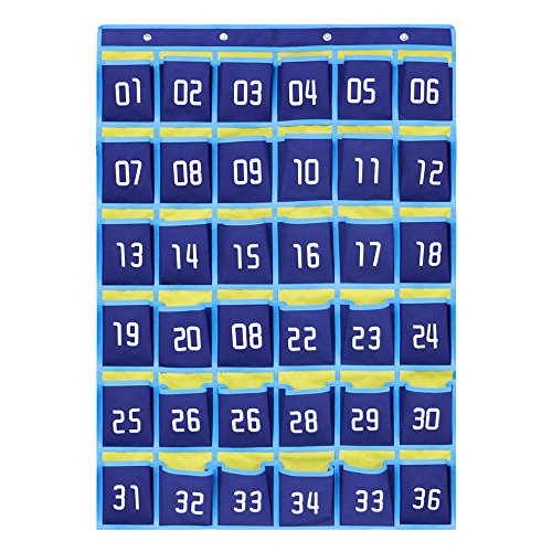 ocket Chart for Cell Phones/Calculators/Id Card/Student Card/Key and Other Small Items (Brown,Blue,Pack of 1) (36pockets, Blue) (Behavioral Pocket Chart)