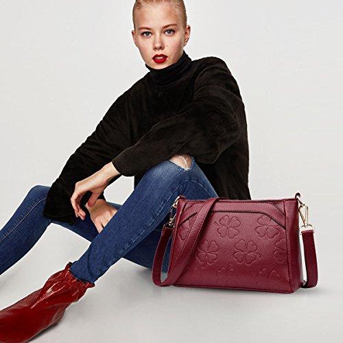 Doris amp; Bags Woman Pattern Bag Messenger Shoulder Crossbody Wine Strap Red Flowers Leather Long Nicole Pu YwqdPP