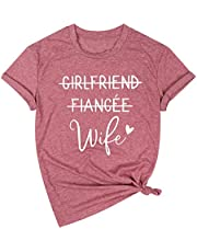 JINTING Girlfriend Fiancee Wife Shirt Women Engagement Party T Shirt Just Married Shirts