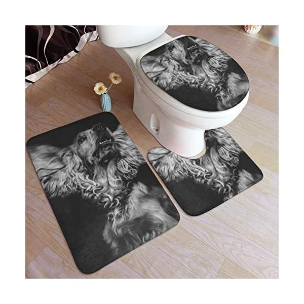 GHWSgGN English Cocker Spaniel Dog Bathroom Rug Mats Set 3 Piece Fashion Anti-Skid Pads Bath Mat + Contour + Toilet Lid Cover 1
