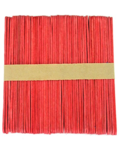1000 Red Standard Size Wood Craft Sticks Colored Popsicle Stick