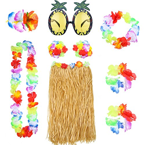 8 Pieces Hawaiian Hula Grass Skirt Set with Necklace Bracelets Headband Flower Bikini Top Hair Clip and Pineapple Sunglasses Party Decoration (Straw Color) -