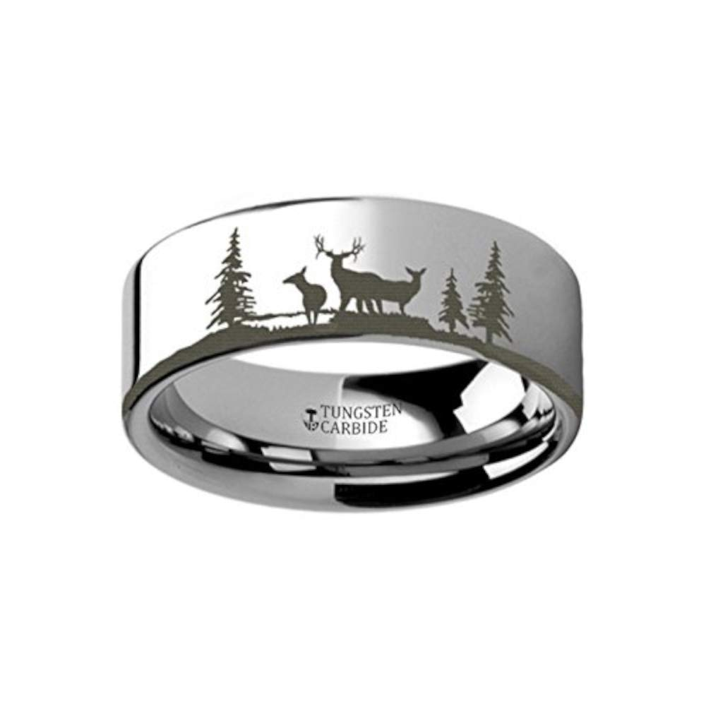 4mm 12mm Animal Landscape Scene Reindeer Deer Stag Ring Engraved Flat Tungsten Ring