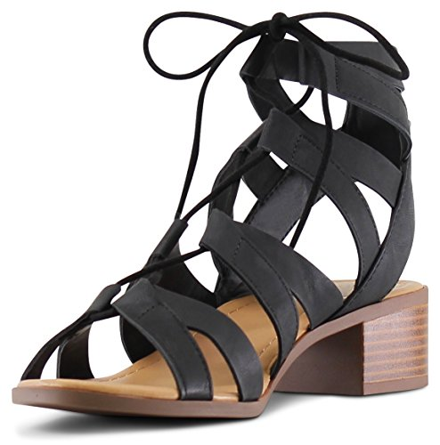 MARCOREPUBLIC Zurich Open Toe Gladiator Chunky Block Stacked Heels Sandals - (Black) - 8.5 by MARCOREPUBLIC (Image #3)