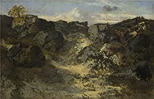 'Thodore Rousseau A Rocky Landscape ' oil painting, 10 x 15 inch / 25 x 39 cm ,printed on high quality polyster Canvas ,this Imitations Art DecorativeCanvas Prints is perfectly suitalbe for gift for girl friend and boy friend and Home decor and Gifts
