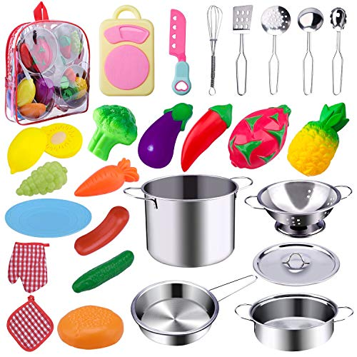WAASII 26 Pcs Kitchen Pretend Play Accessories Toys with Stainless Steel Cookware Pots and Pans Set,Cooking Utensils and Healthy Cutting Play Food Set Gifts Learning Tool for Kids Girls -