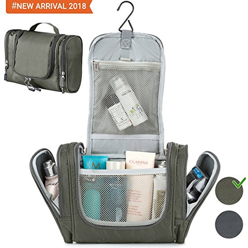 Travel Hanging Toiletry Bag for Travel Accessories - Toiletry Kit - Shower Bag - Best Large Compact Flat Nylon Waterproof Mens Womens Cosmetics Makeup Organizer for Traveling Gym Bathroom - Gray