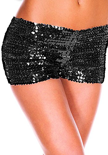 Fashion Queen 9 Colors Women's Shiny Sequin Mini Shorts Sexy Stretch Pants Clubwear (One Size, Black) (Sequin Hot Pants)