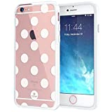 "iPhone 6 6s Case 4.7"", True Color® Medium Polka Dots Printed on Clear Transparent Hybrid Cover Hard + Soft Slim Thin Durable Protective Shockproof TPU Bumper Cover - White"