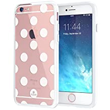 """iPhone 6 6s Case 4.7"""", True Color® Medium Polka Dots Printed on Clear Transparent Hybrid Cover Hard + Soft Slim Thin Durable Protective Shockproof TPU Bumper Cover - White"""