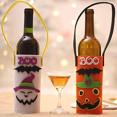 Halloween Funny Decorative Wine Bottle Cover with Handle Strap, Non-Woven Wine Bottle Bags Pouch of Pumpkin Pattern for Halloween Party Decoration(Set of 2, Pink & Orange) -