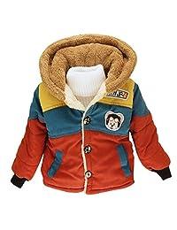 Happy Cherry Kids Boys Warm Hoodies Outerwear Jacket Coat Orange Size 5