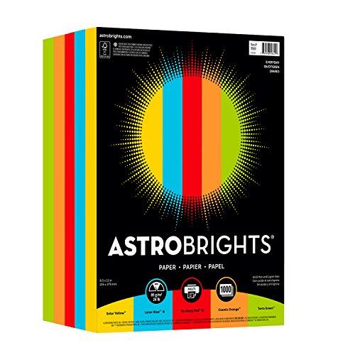 "Astrobrights Color Paper, 8.5"" x 11"", 24 lb/89 gsm, ""Everyday"" 5-Color Assortment, 1000 Sheets (99609)"