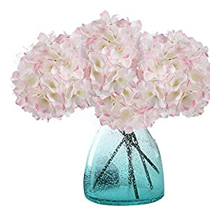 Meiwo Artificial Hydrangea Flowers, 2 Pcs Fake Hydrangea Silk Flowers to Shine Your Wedding Scene Arrangement and Home Party Decor(Pink-White)