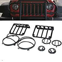 TURBOSII 2007 - 2016 Jeep Wrangler JK Black Light Guard Covers Kit 8 Sets For Front Headlights, Rear Taillights, Front Turn signal indicators & Side Fender Flares light ( US Style )