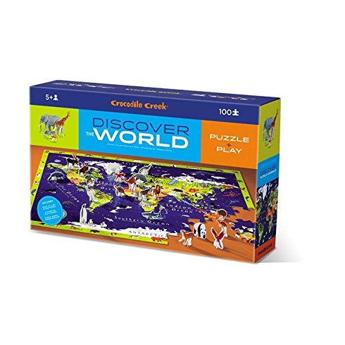 Crocodile Creek Discover World Animals Learn + Play 100 Piece Jigsaw Floor Puzzle and 21 Figures, 36