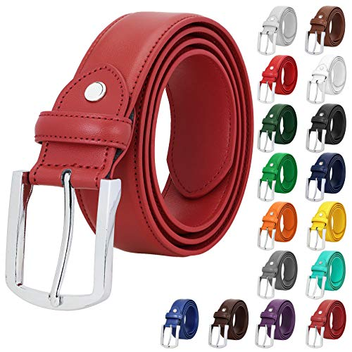 Falari Men Genuine Leather Casual Dress Belt With Single Prong Buckle 16 Colors
