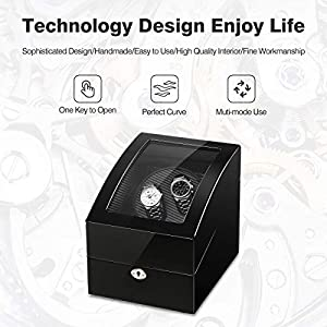 CRITIRON Luxury 2+3 Automatic Watch Winder, Rotating 2 Watches Wood Storage Display Box