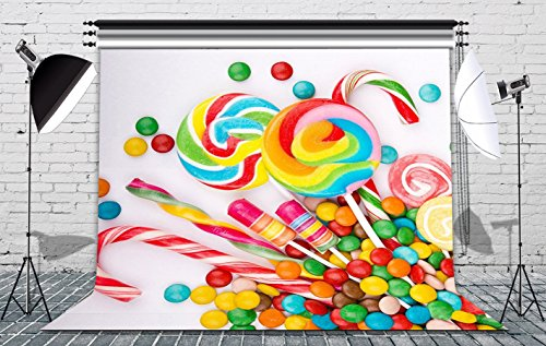 GoodsFederation 8x8ft Colorful Sweet Candys Seamless Pictorial Cloth Vinyl Photography Backdrop Customized Photo Backdrops Background Studio Props RM-031