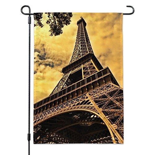 ffel Tower Paris Vintage Garden Yard Flag with Pole Stand Holder ()