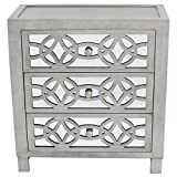 River of Goods Drawer Chest: Glam Slam 3-Drawer Mirrored Wood Nightstand Furniture - Pewter