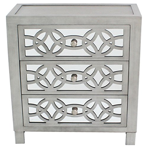 River of Goods  Drawer Chest: Glam Slam 3-Drawer Mirrored Wood Cabinet Furniture - Pewter (Mirrored Cabinets Bedside)