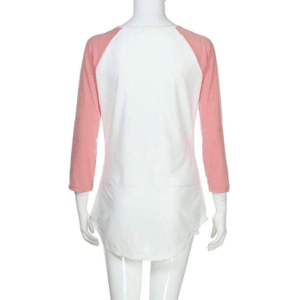 Noopvan Women Floral Printed Blouse Casual Patchwork T Shirt Strap Long Sleeve Top Shirts (M, White) by Noopvan (Image #5)