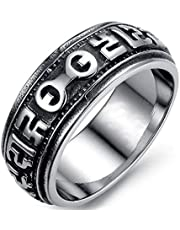 Punk ring of stainless steel embossed arc design for Men fit comfort size 9US