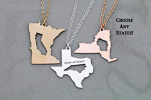 Two State Inner Outer Cutout Charm - IBD Best Friend Gift - Friendship - Graduation - Choose Chain Length - Custom State or Country - 935 Sterling Silver 14K Rose Gold Filled Necklace - 1 Inch 25.4 MM