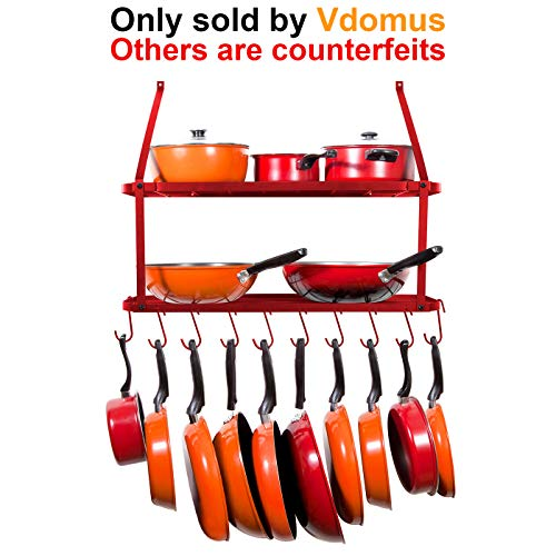 VDOMUS Pots and Pans Rack Wall Mounted Hanging Pot Shelf - 2 Tier (Red)