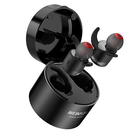 Wonstart Audífonos verdaderamente inalámbricos, con micrófono, cargador portátil, reducción de ruido Auriculares Bluetooth
