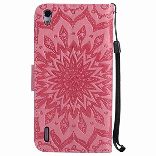 Yiizy Huawei Ascend P7 Custodia Cover, Sole Petali Design Sottile Flip Portafoglio PU Pelle Cuoio Copertura Shell Case Slot Schede Cavalletto Stile Libro Bumper Protettivo Borsa (Rosa)