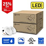 IN HOME 6-inch LED Downlight RETROFIT KIT Recessed Lighting Fixture, 18W (90W Equivalent), Dimmable, 3000K (Warm white), 1200 Lumens, (24 Pack), UL and ENERGY STAR listed