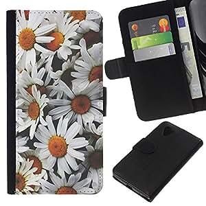 All Phone Most Case / Oferta Especial Cáscara Funda de cuero Monedero Cubierta de proteccion Caso / Wallet Case for LG Nexus 5 D820 D821 // Chamomile Flowers Petal Field Nature