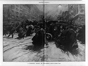 Photo: Winter's night on Broadway,1900,snow covered street,people,horse-drawn carriages
