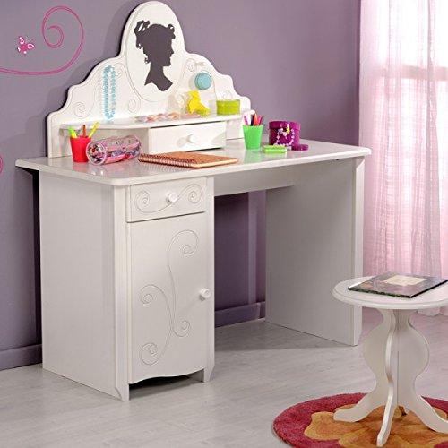 Escritorio Celina Incluye accesorio + Espejo + taburete blanco MDF ...