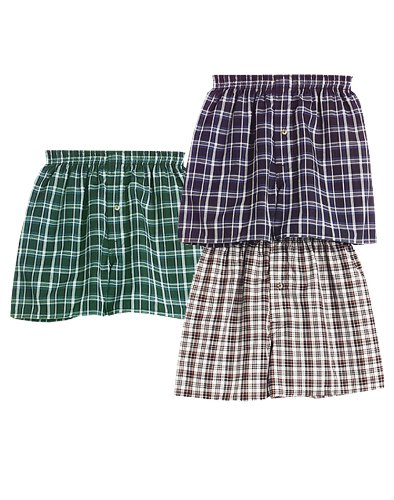 Red Plaid Woven Boxer - 3