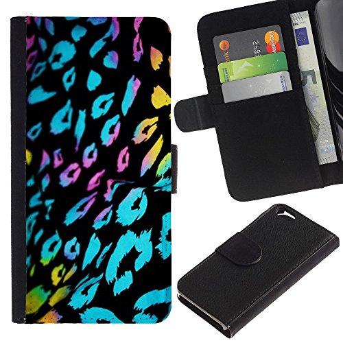 LASTONE PHONE CASE / Luxe Cuir Portefeuille Housse Fente pour Carte Coque Flip Étui de Protection pour Apple Iphone 6 4.7 / ultraviolet fur leopard pattern black blue