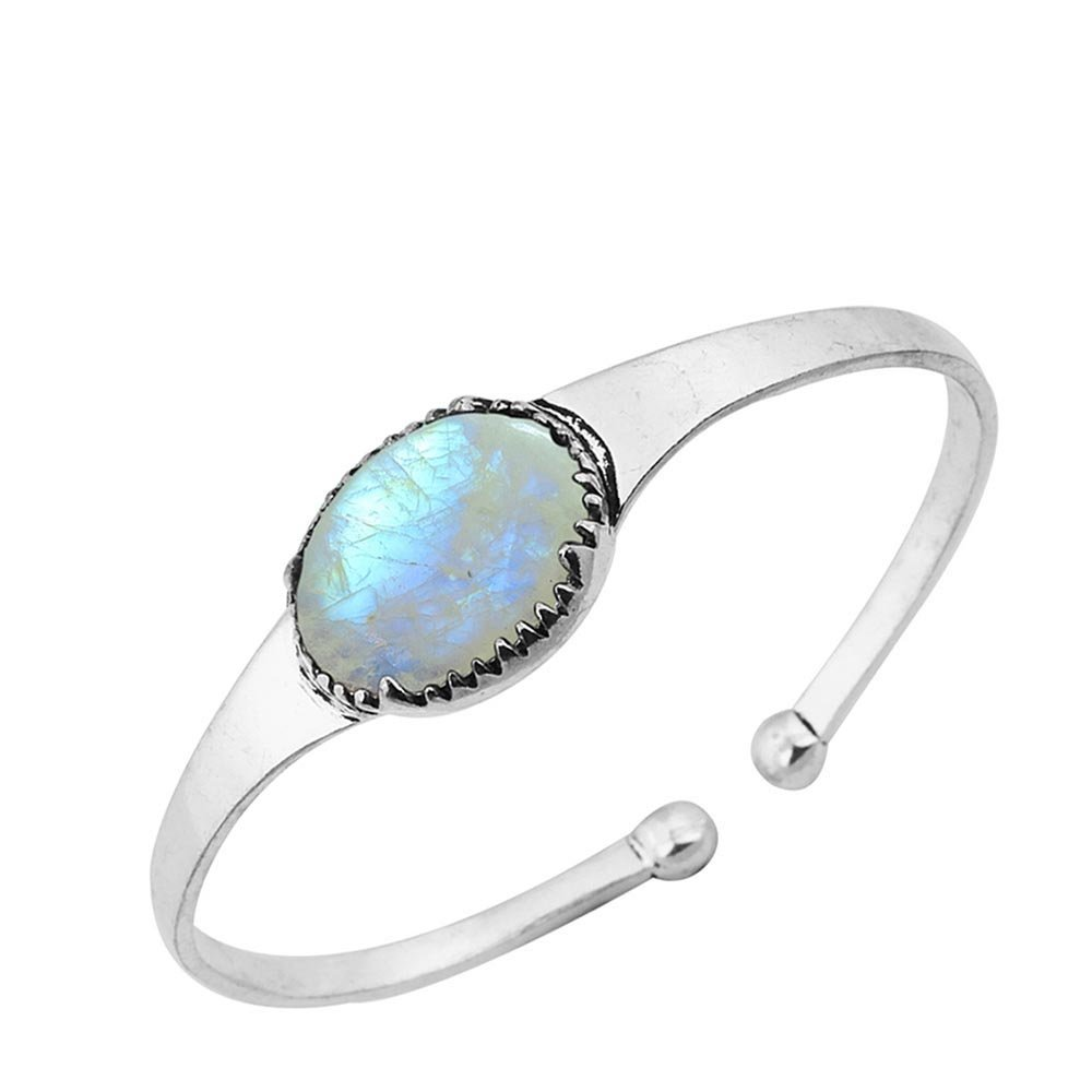 Sterling Silver Jewelry 14.50ct, Genuine Rainbow Moonstone & 925 Silver Plated Bangle